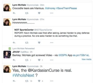 Kevin McHale's Wife Tweets